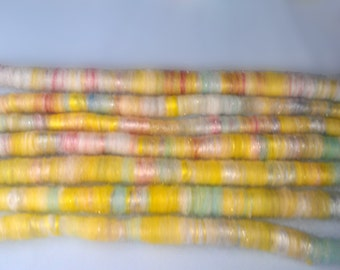 Rolag Puni- Summer Yellow - 2oz - spinning felting fiber fibre green striped peach orange white cream lemon bright