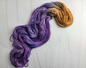 OOAK Purple caramel - Ready to Ship - Hand Dyed Variegated Yarn - worsted weight 219 yards RTS 100g