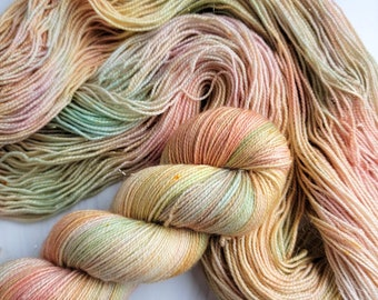 Autumn Rainbow - Hand dyed variegated Yarn-  Choose Your Base - SW Merino 100g caramel pastel roygbiv brown gold fall colors