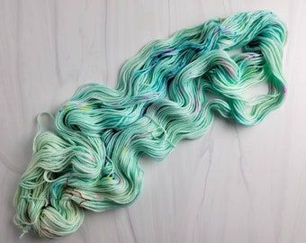Tide Pools - Ready to Ship - Hand Dyed Variegated Yarn - worsted weight 219 yards RTS 100g aqua light pastel blue speckled