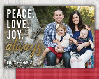 Printable Christmas card with photos - Peace Love Joy Always - Gold lettering - Plaid - Flannel - Photo holiday card - Customizable