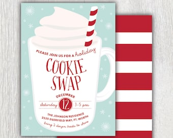 Cookies and Cocoa Party Invitation Christmas Invitation