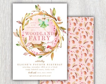 Printable Woodland Fairy birthday invitation - Autumn Fairy party - Enchanted Forest creatures -  Fall Birthday party - Customizable