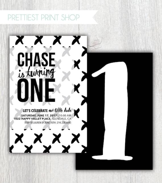Printable Monochrome Birthday Invitation