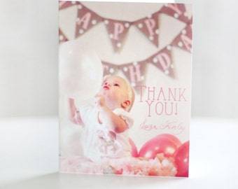 Printable pink and gold carousel thank you card with photo -  First birthday - Girls birthday - Customizable