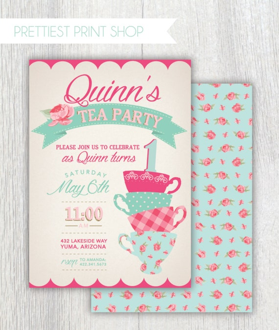 Printable Tea Party First Birthday Invitation