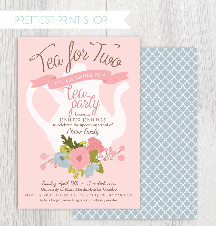 Printable Tea Party Baby Shower Invitation Tea Pot Floral Etsy
