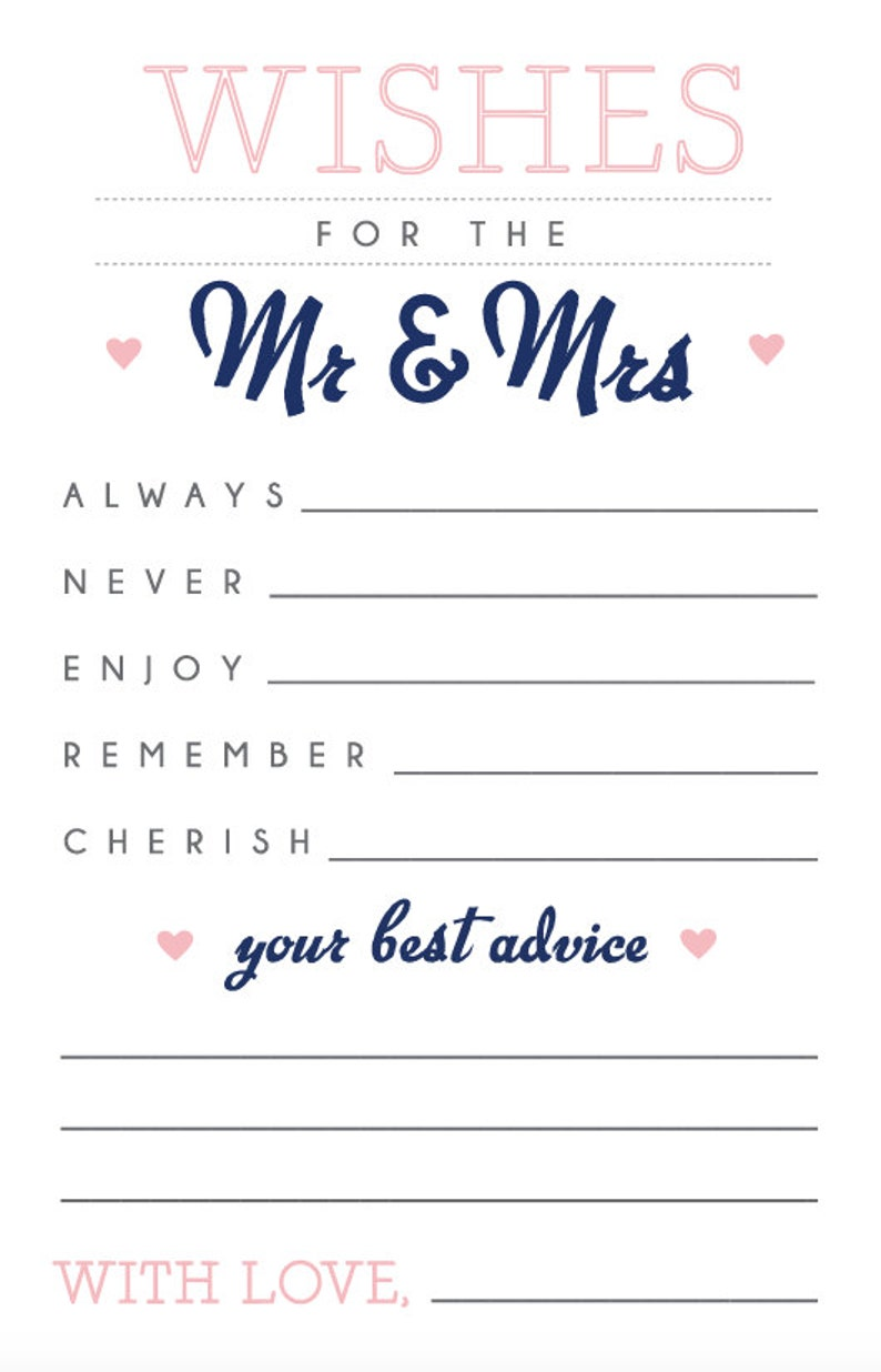 Printable bridal shower party sheets - Wishes for the Mr & Mrs - Advice  sheets - Icebreaker game - Wedding game - Customizable