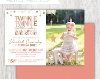 Printable Twinkle Twinkle Little Star invitation with photo - Pink and gold - Twinkle twinkle first birthday - Stars - Birthday invitation