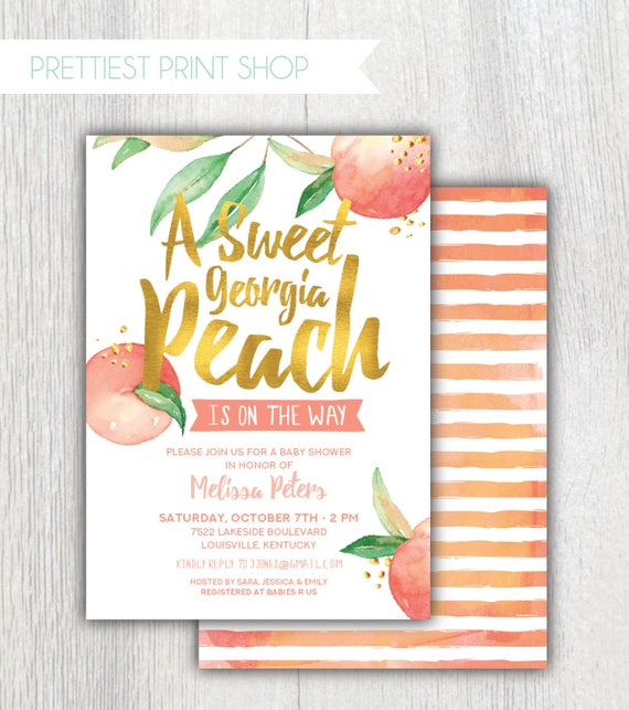 Printable Georgia Peach Baby Shower Invitation Peach And Etsy