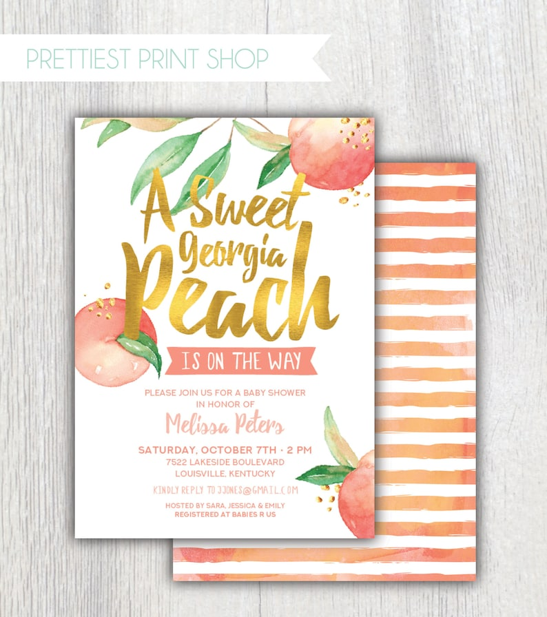 Printable Georgia Peach Baby Shower invitation - Peach and gold Baby Girl  Shower - Southern peach - Sweet peach is on the way - Customizable