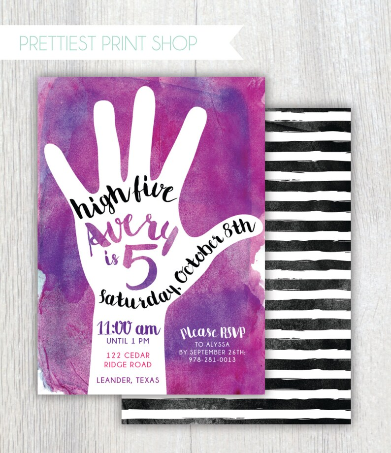 Printable 5th Birthday Invitation High Five Party