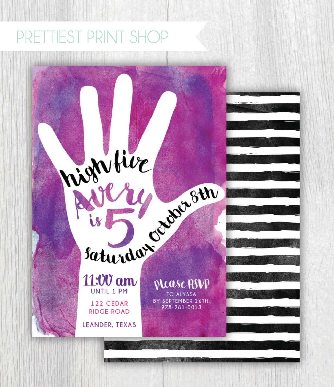 Printable 5th Birthday Invitation High Five Party