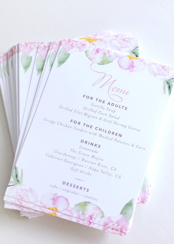 Printable Menu Card Peonies Floral Soft Feminine Birthday Party