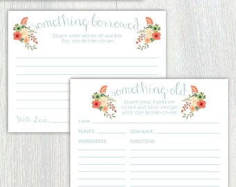 Printable bridal shower recipe and advice cards - Something Old - Something Borrowed - Something Blue - Floral - Customizable