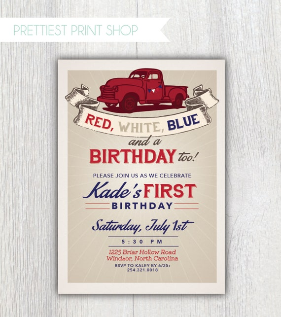 Printable Truck Birthday Invitation