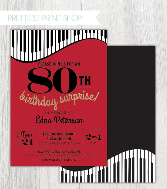 Printable Piano Birthday Party Invitation