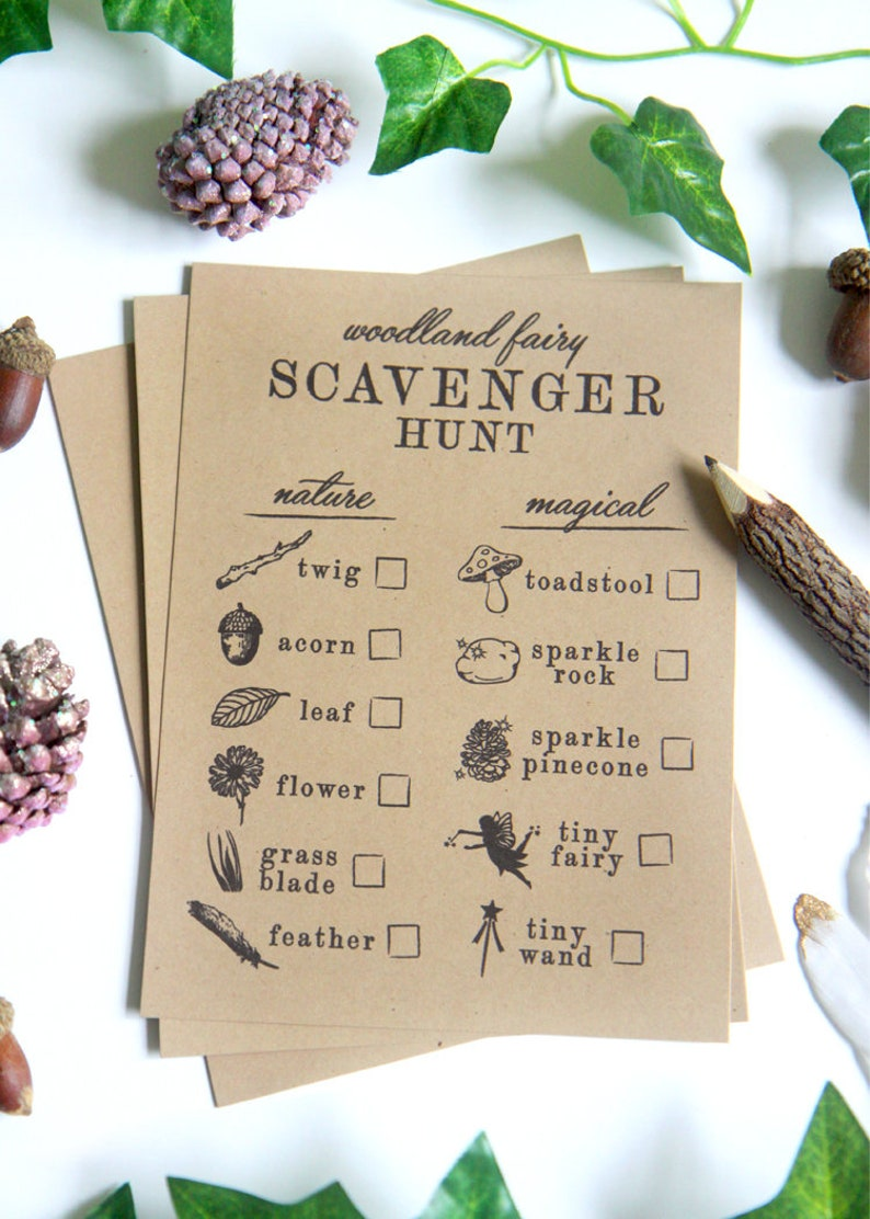 photo regarding Printable Nature Scavenger Hunt called Printable Scavenger Hunt sheets - Mother nature scavenger hunt listing - Woodland Fairy Enchanted Forest birthday occasion online games - Customizable