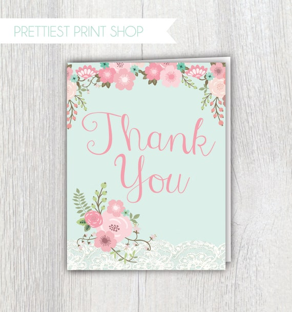 image regarding Printable Baby Shower Thank You Cards referred to as Printable child shower thank by yourself card - Floral and Lace - Red and mint - Boy or girl shower - Child female shower - Folded notecard - Customizable