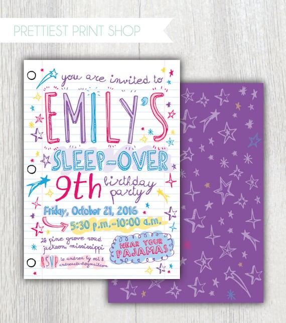 printable sleepover invitation notebook paper doodles etsy