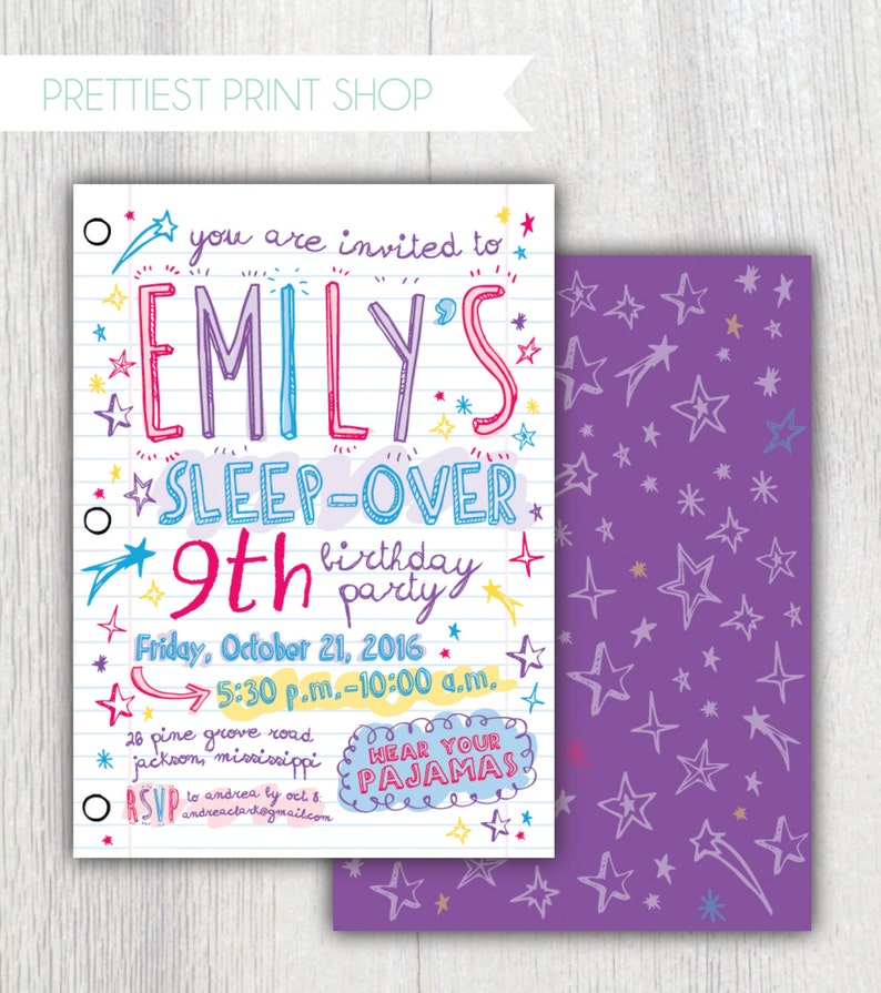 image relating to Printable Sleepover Invitations named Printable sleepover invitation - Laptop computer paper - Doodles invitation - Women of all ages snooze social gathering - 9th birthday - Preteen birthday - Lady birthday