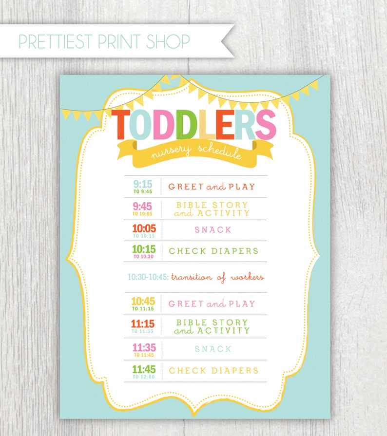 graphic relating to Printable Church Nursery Forms identify Printable nursery or clroom program - Daycare - Church Nursery - Preschool - Wall artwork - Customizable