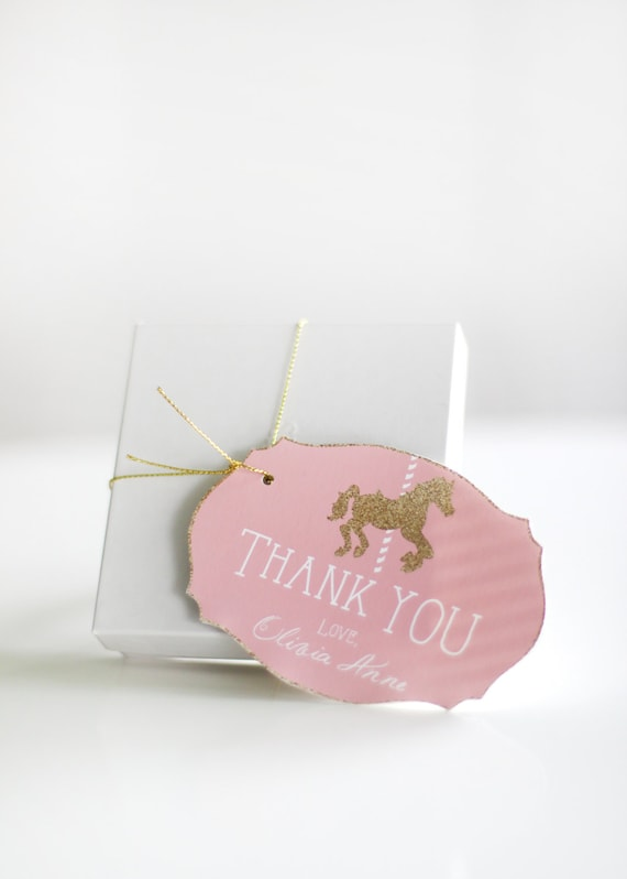 20 Carousel Themed Pink and Gold Personalized Tags Party Favor Tags Gift Bag  You Choose Your Colors!