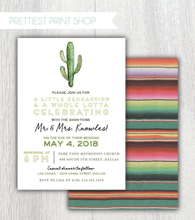 23bb9ff686b Printable Taco Bout Love rehearsal dinner invitation - Serape and Cactus -  Taco Party - Cinco De Mayo wedding - Fiesta - Customizable
