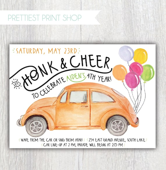 Social Distancing Birthday Invitation Birthday Parade Invitation Car Parade Drive By Social Distancing Party Honk Cheer Customizable By Prettiest Print Shop Catch My Party