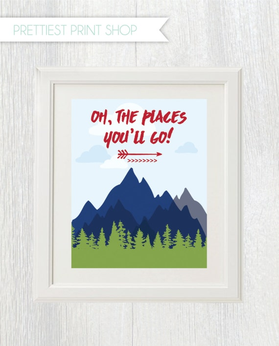 photograph relating to Oh the Places You'll Go Arrows Printable called Printable boy nursery indication - Oh the spots youll shift