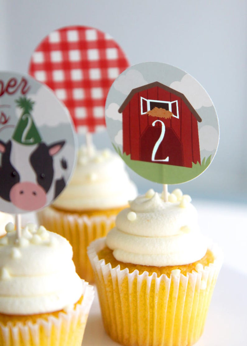 Printable Farm Birthday Cupcake Toppers Party Til The Cows Etsy