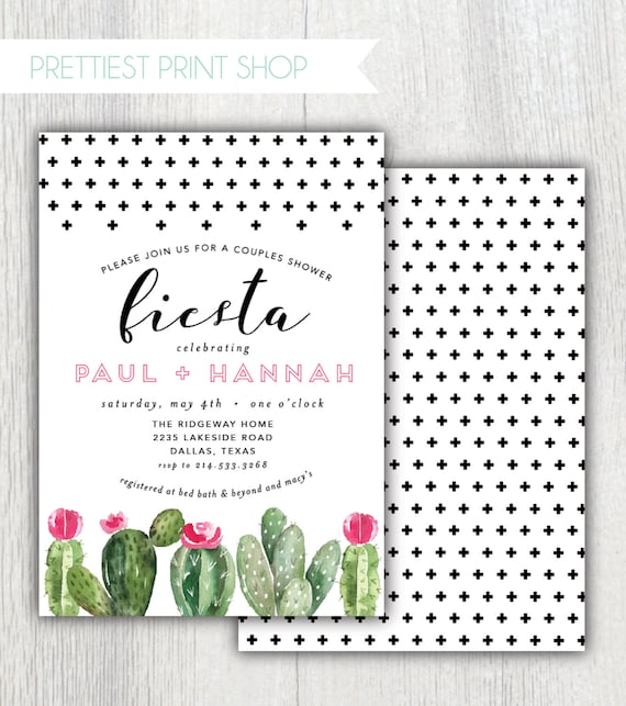 8356957d6e3 Printable Fiesta couples shower invitation Succulents