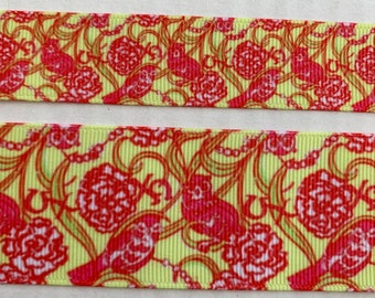 afa6ef95c0dca2 Lilly Pulitzer Chi Omega sorority Owls Grosgrain Ribbon yellow red floral  7/8
