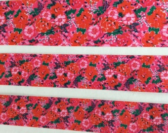 """Lilly Pulitzer inspired Red Orange Floral Thing Called Love grosgrain ribbon 7/8"""" 1"""" 1.5"""""""
