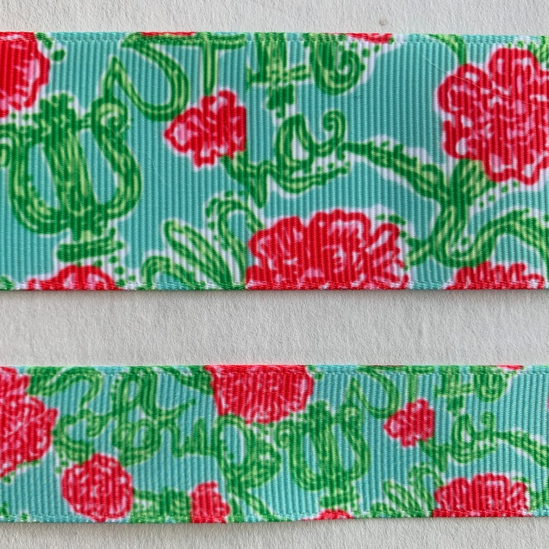 8c8089ca30ee30 Lilly Pulitzer Sorority grosgrain ribbon Floral Alpha Chi | Etsy