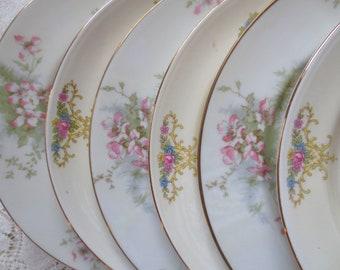 Set of 6 Mismatched Floral China Salad or Dessert Plates. Alice in Wonderland Tea Party, Bridal Shower Wedding, Shabby Chic Vintage Dishes