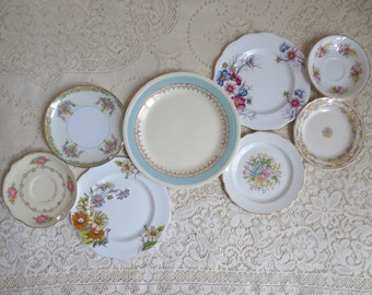 Set of 8 Mismatched China Plates. Floral Wall Collage. Farmhouse Decor. Vintage Plates. Antique Plates. Tea Party Bridal Shower. Shabby Chic