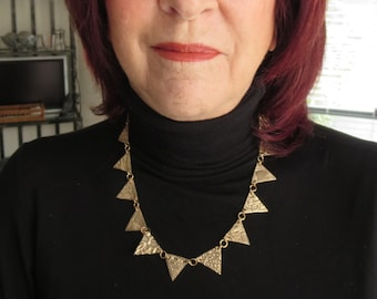 Modernist Necklace - Gold Bronze Triangles