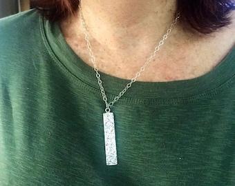 Vertical bar pendant. Long bar necklace. Silver bar necklace. Hammered bar. Bar drop necklace.