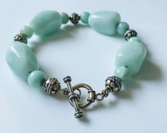 Amazonite Beaded Bracelet. Big chunky Aqua Green & Sterling Silver Beaded Bracelet. Natural stone bead jewelry.