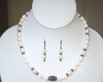 Pastel Freshwater Cultured Pearl Sterling Silver Beaded Necklace with Matching Earrings. White and Pastel Pearl Necklace with Earrings