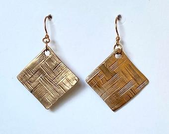 Golden Statement Earrings Abstract Gift for Her. Modernist earrings