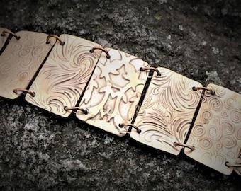 Gold panel bracelet. Rustic chunky bracelet. Primitive jewelry panel bracelet. Panel link bracelet. Gold panel link bracelet. Embossed panel