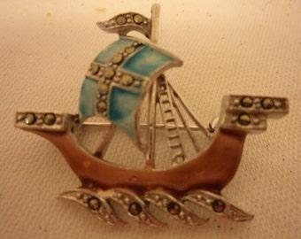 Vintage Pretty Marcasite/Enamel Sailing Ship Brooch/Pin