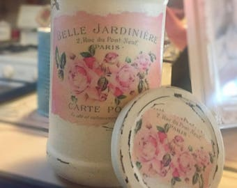 Shabby Chic French Country Ivory Jar Vase Decoupage Pastel Paris France Labels Table Centerpiece Home Dorm Decor Gift Sweet Vintage Designs