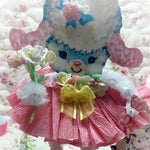Lamb Easter Spring Decor Vintage Style Bump Chenille Pipe Cleaner Figure Shabby Chic Paper Doll Figurine Paperdoll Cake Topper Pink Gift