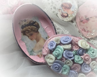 PInk Shabby Chic Trinket Jewelry Box - Hand Sculpted Porcelain Pastel Roses - Vanity Decor - Ring Holder - Housewarming Hostess Gift for Her