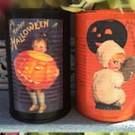 2 Halloween Black & Orange Painted Tin Cans - Vintage Halloween Decor VICTORIAN KIDS Vases Decoration Table Centerpieces Pumpkin Party Favor