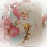 Fancy Pink Santa Claus Christmas Gift Tags and Ribbon Set - Shabby Chic Christmas - Father Christmas Xmas Gift Toppers - Christmas Cards