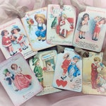 Set of 8 Victorian Style Valentine's Day Decor Gift Tags/Cards AND Ribbons Kids Vintage Retro Gift Bag Art Tag Journal Scrapbook Card SET